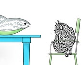 Gray Tabby & Ginger Cat. Blue Table. Apple Green Chair. Big Fat Fish in a Bowl. Cats in the Dining Room. Graphic Print 12x16