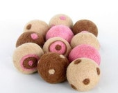 Cream , Pink and Brown Felted Beads