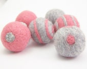 Silver Gray and Candy Pink Felt Beads