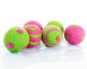 Candy Pink and Lime Green Felt Beads