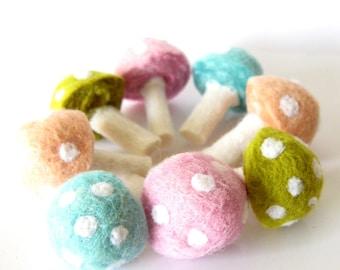 Wool Needle Felted 8  Pastel Mushrooms Toadstools Home Decor Spring