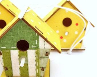 3 Wooden Bird House Ornaments - Home Decor - Spring - Summer