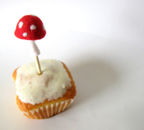 10 Toadstool Mushrooms Cake Toppers - Wool Needle felted - Party Decoration