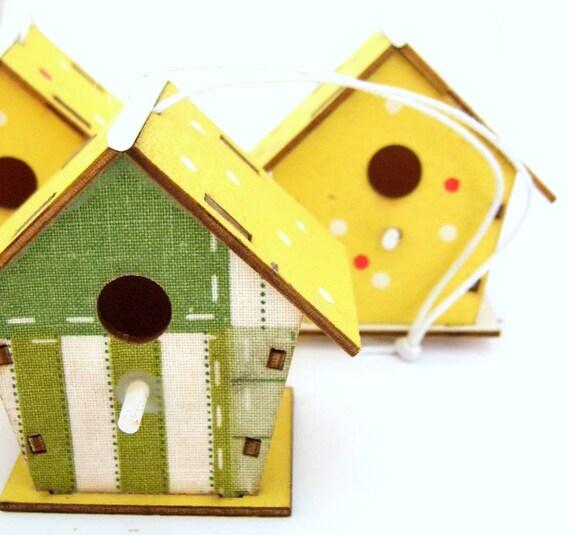 Https Www Etsy Com Listing 97838453 3 Wooden Bird House Ornaments Home Decor