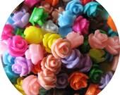 Set of 50 teeny rose cabochons - 7.5mm