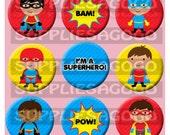 Set of 9 Super heros -  handmade cabochons - 1 inch