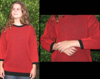 CLEARANCE, NUCLEAR FALLOUT: Vintage 1980s Ribbed Pullover Bubble Sweater // Atomic Cherry Red Thin Stripes, Ebony Black, Size Medium - Large