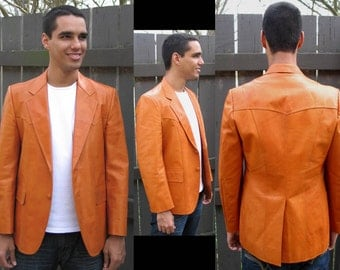 URBAN COWBOY: Vintage 1980s Genuine Leather Blazer / Jacket, Orange Rust-Ochre; Buttons, Pockets; Handmade by Siam Bootery, Bangkok Thailand