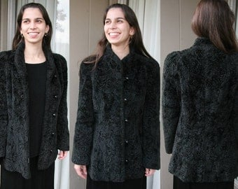 Vintage Black Persian Curly Lamb Shearling Jacket // Coat, Faux Fur, Princess Sleeves // ILGW Union Made in the USA, Portrait