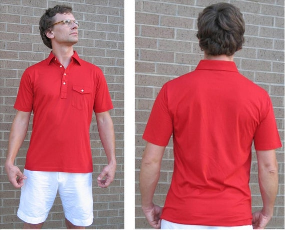Lifeguard vintage cherry red wide collar golf or by for Stiff collar polo shirt
