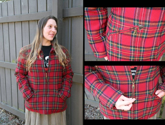 KILL the WABBIT: Vintage Tartan Plaid Jacket, Insulated Quilted Lining, Suede Leather & Brass Metal Accents, Zip Front, Red Green Gold
