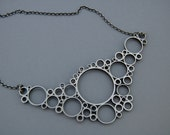 Sterling silver necklace oxidized handmade jewelry unique modern circles mix of organic and geometric  fractals emc jewelry