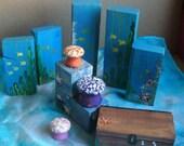 Wooden Mermaid Doll, Large Sea Blocks Playset