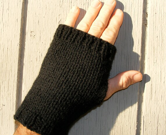 Men's or Women's Black Wrist Warmers / Fingerless Gloves