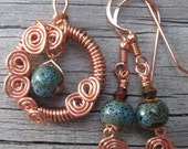 Spiral Copper Earth Earrings