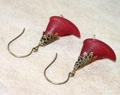 Burgundy Calla Lily Earrings