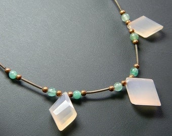 SALE Facetted Pink Chalcedon and Seafoam Aventurine Stone Copper Necklace