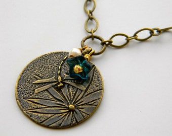 Dragonfly Dreams - Vintage Style Pendant Brass Necklace