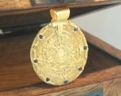 Aztec Calander Medallion Gold Pendant