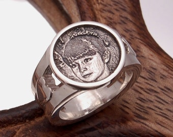 Personalized Medallion Photo  Ring - Sterling Silver