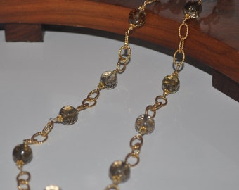 Gold Smoky Quartz long Necklace