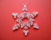 Christmas Ornament: 'Frosty Frills' white quilled snowflake ornament gift packaged tree ornament holiday decoration winter decoration