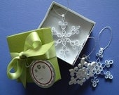 Snowdrift Collection-Set of 3 elegant, quilled snowflake ornaments packaged for gift giving, perfect stocking stuffers, secret santa gift, office party gift