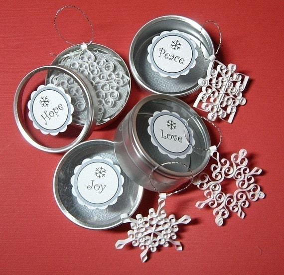Snowflake Christmas Ornaments: Petite Advent 'Love, Hope, Peace, and Joy' quilled snowflake ornaments set gift packaged stocking stuffers