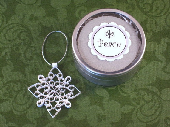 Quilled Christmas Ornament: Petite Advent 'Peace' mini quilled snowflake ornament gift packaged Christmas decoration stocking stuffer