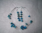Crazy Blue Lace - 3 strand bracelet and earings