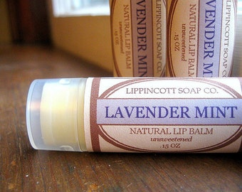 Lavender Mint Lip Balm - Lavender Essential Oil Lip Balm - Peppermint Oil Lip Balm - All Natural Lip Balm