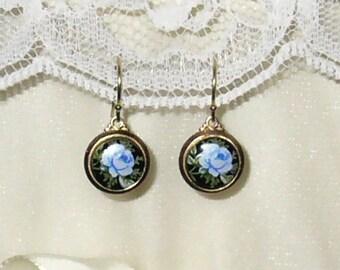 Out of  Africa Karen's Blue Flower Wedding Earrings