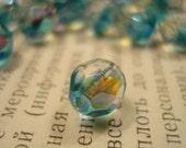 aqua crystal czech glass bead, faceted, 8mm