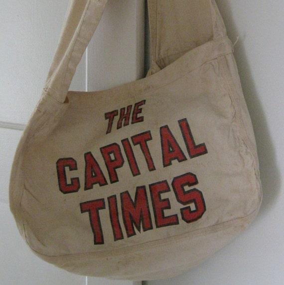 Vintage Canvas Newspaper Carrier Bag Capital Times Madison WI