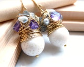 FREE shipping - NEW The Alphonsine - charming earrings with white coral, amethyst and pearls
