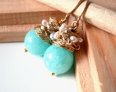 NEW  Organic - lovely earrings with chalcedony color jade and white fresh water pearls