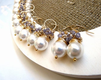 Bridal earrings, wedding earrings, Set of six pairs of gold pearl lavender earrings, wire wrapped bridal jewelry