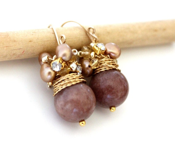 FREE shipping - The Soralee - fresh earrings with big brown jade and golden sea pearls