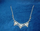 Vintage Necklace with milk glass and faceted rhinestone settings. Prom wedding costume jewelry