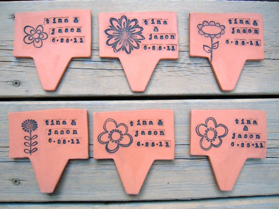 Wedding Favor/Birth Announcement Plant Pokes (set of 6) Made to Order