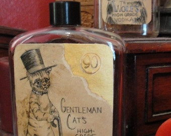Gentleman Cat's Whiskey. Whimsical Decor item. Great for props, cosplay, steampunk. Recycled or upcycled bottle.