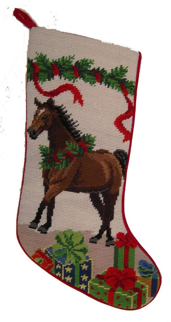 CHESTNUT BROWN HORSE CHRISTMAS NEEDLEPOINT STOCKING - photo#42