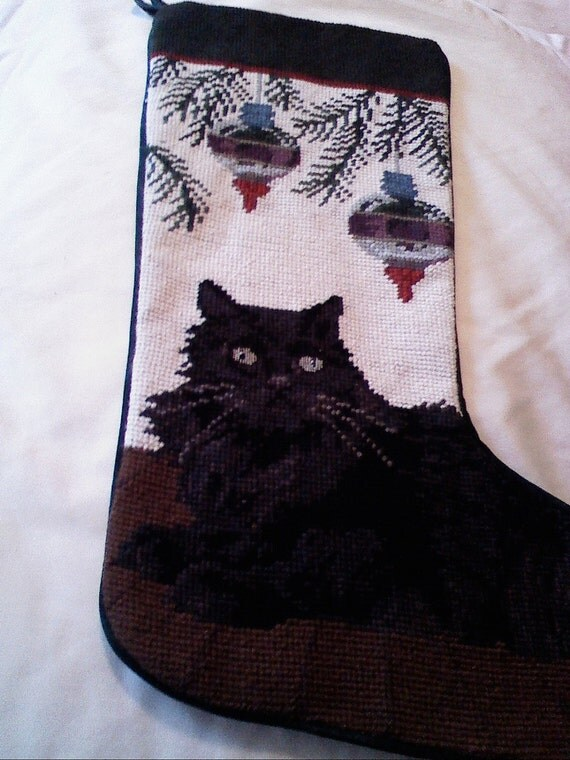 Black Cat Kitten Needlepoint Christmas Stocking By