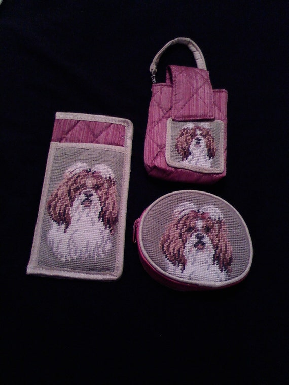 Shih Tzu Needlepoint Coin Purse Cell Phone Case Eye Glass Case