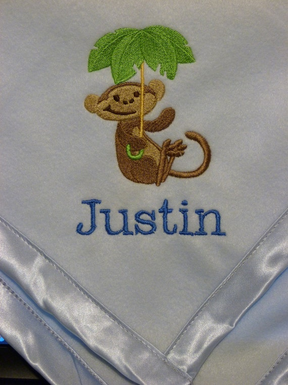MONKEY with Palm Tree Baby / Child / Toddler Personalized Embroidered Blanket
