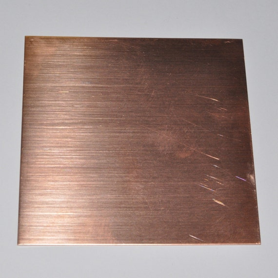 Solid Copper Sheet Metal 24 gauge 3 x 3 inches