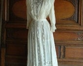 New Years Sale ReDuCeD Vintage VICTORIAN WEDDING DRESS Silk Lace Bridal  Small Was 1500