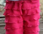 "Hot Pink Ruffle Rhumba Rumba Pants for 15"" to 18"" Doll Waldorf American Girl Bitty Baby - Valentine's Day Spring Easter"