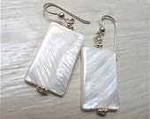 White mother of pearl & silver drop earrings SIMPLICITY