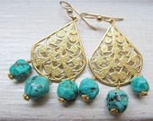 Chandelier earrings. Drop earrings. Gold earrings. Blue jewelry. Turquoise earrings. Turquoise jewelry. Tear drop. KINERET